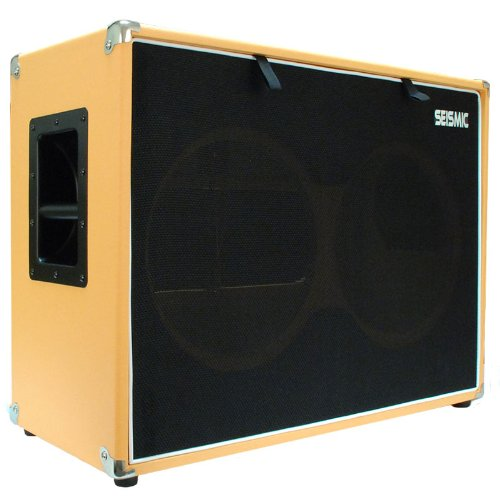 "Seismic Audio - 2X12 Guitar Speaker Cab Empty - 7 Ply Birch - 12"" Speakerless Cabinet - 212 - Orange Tolex - Black Cloth Grill - Front Or Rear Loading Options"