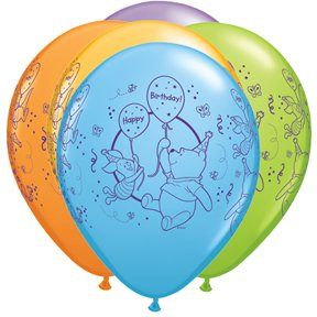 "PIONEER BALLOON COMPANY 25 Count Assorted Pooh Happy B'day, 11"", Multicolor"