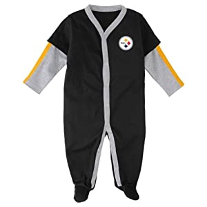Outerstuff Pittsburgh Steelers Baby Long Sleeve Jersey Coverall from SteelerMania