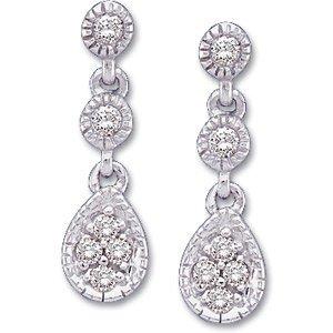 14K White Diamond Earring 1/8 Ct Tw Pair 61548