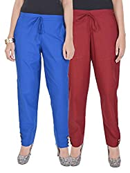Kalrav Solid Blue and Maroon Cotton Pant Combo
