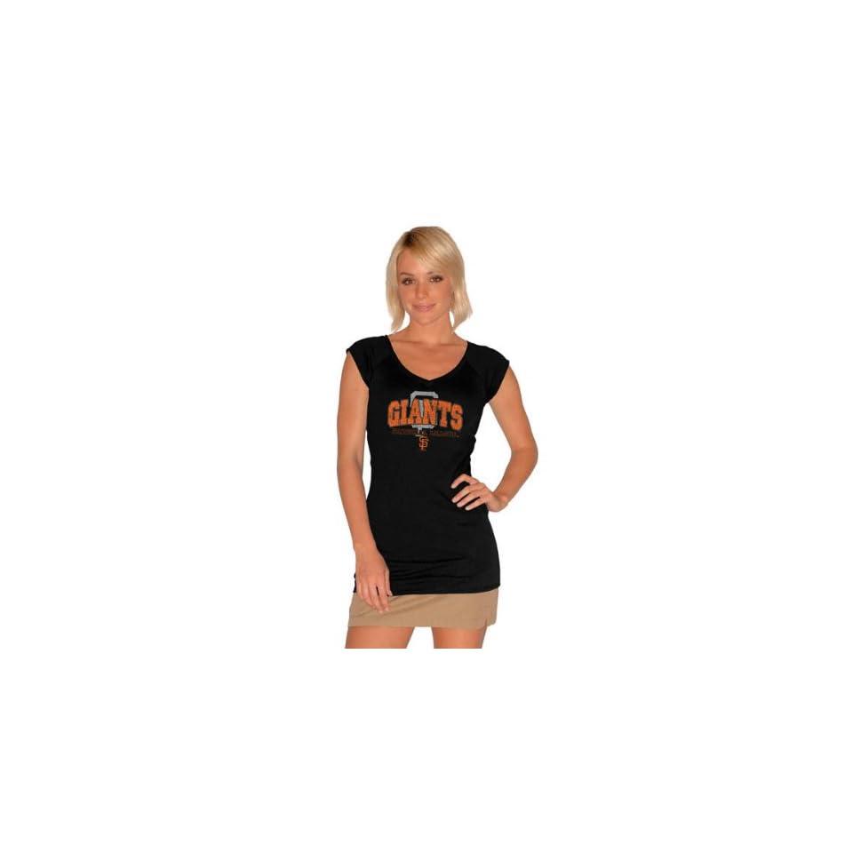 San Francisco Giants Womens Raw Edge Deep V Neck Short Sleeve T Shirt   by Alyssa Milano