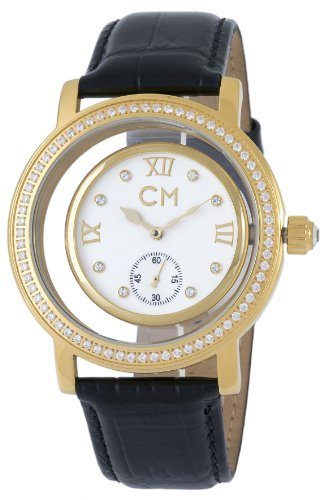 Carlo Monti Ladies Automatic Watch with White Dial Analogue Display and Black Leather Strap CM104-282