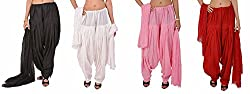 Stylenmart Combo Offers - Pack of Black, White, Baby Pink and Red Cotton Patiala Salwar