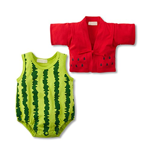 [BeautyXTP Baby Unisex Newborn 2PCS Costume Kimono coat+ Fruit Rompers Bodysuit (L:95CM, Watermelon)] (Watermelon Toddler Costume)