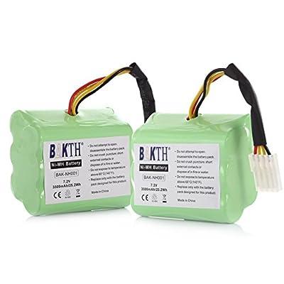 BAKTH 3500mAh Extended Battery 2-Pack for NEATO XV-11 XV-12 XV-14 XV-15 XV-21 XV-25 945-0005 205-0001 945-0006 945-0024 XV Signature Pro All-Floor Robotic Vacuum (18-Month-Warranty)