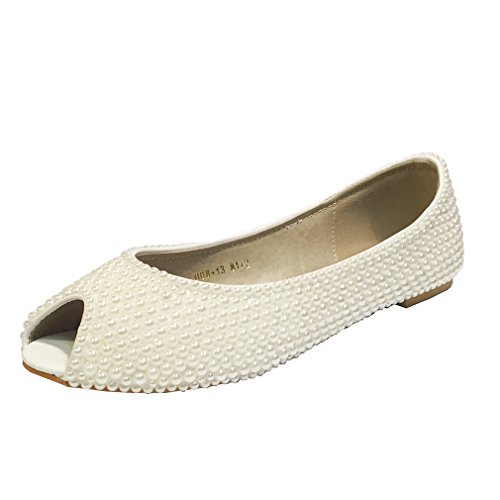 Marc Defang New York Women'S Bridal Ivory Pearl Open Toe Flats (8.5 M Us)