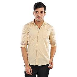 CREEDS Men's Cream Cotton Casual Shirt(X-Large)