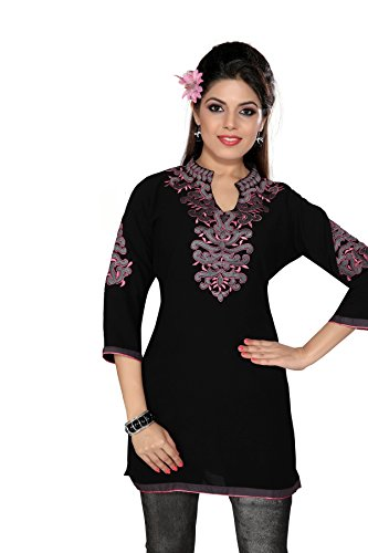 Dragaon-Heavenly Black Tunic Top With Lilac Embroidery