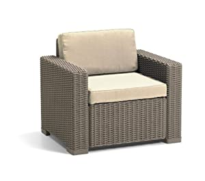 Keter Allibert California Chairs (Pack of 2) - Cappuccino with Sand Cushions