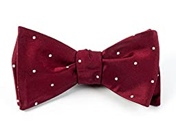 100% Woven Silk Burgundy and White Satin Dot Self-Tie Bow Tie