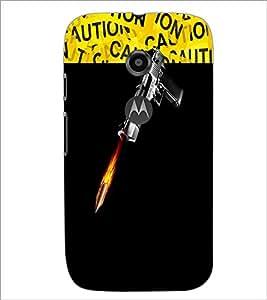 PrintDhaba GUN D-3734 Back Case Cover for MOTOROLA MOTO E2 (Multi-Coloured)