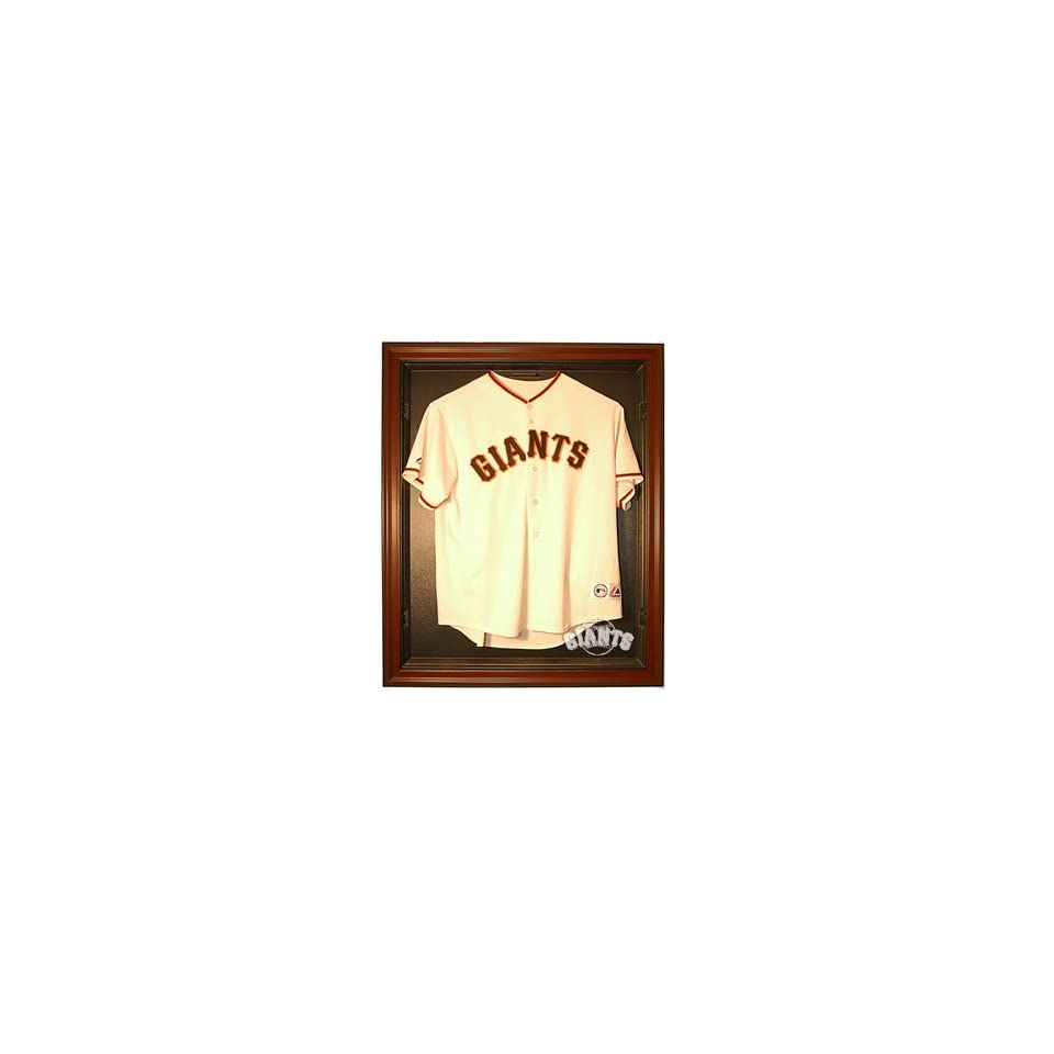 San Francisco Giants Cabinet Style Jersey Display   Mahogany