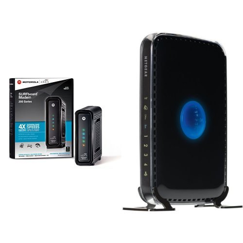 ARRIS SURFboard SB6121 DOCSIS 3.0 Cable Modem and NETGEAR N600 Dual Band Wi-Fi Router (WNDR3400) image