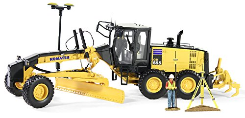 First Gear 1/50 scale Diecast Collectible Komatsu GD655-5 Motor Grader with Ripper and Figure with GPS Base and Rover (#50-3264T) (Diecast First Gear compare prices)