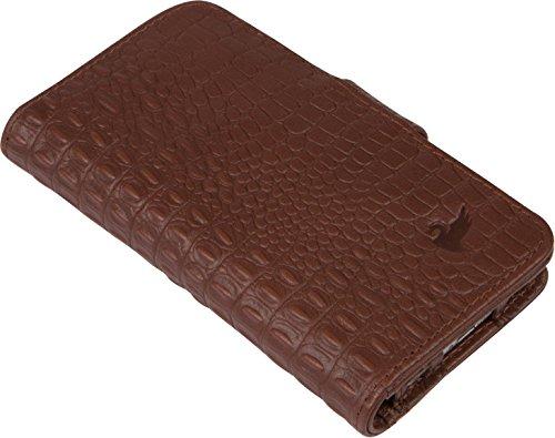 BellaVita Espresso iPhone 6 Leather Wallet, in espresso croc