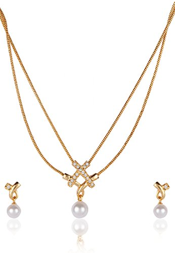 Estelle Estelle Gold Plated Necklace Set With Crystals And Pearl(7992) (Transperant)