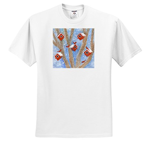 ts_201832 Laura J Holman Art - Christmas Cardinals - Christmas Cardinals in lighted outdoor tree with red birdhouses - T-Shirts