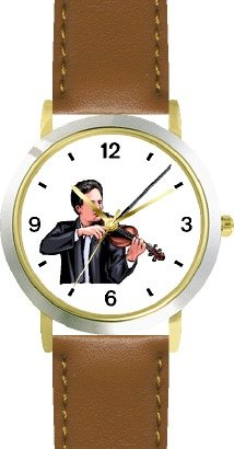 Watchbuddy Male Violin Player Or Violinist Classical Musician - Watchbuddy Deluxe Two-tone Theme Watch - Arabic Numbers - Brown Leather Strap-size-chi