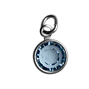 Sterling Silver March Birthstone Charm - Hangs on Loving Family Mother