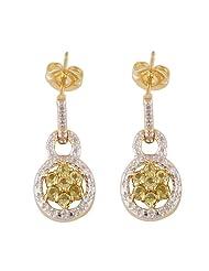 2.70 Grams Peridot & Diamond .925 Sterling Silver Earrings