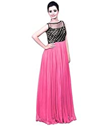 Vadaliya Enterprise Women's Embroidered Light Pink Gown