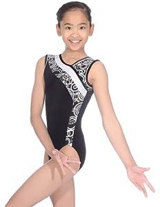 The Zone Z351 Spangle justaucorps de gymnastique sans manches avec col asymmetrique, noir, taille 38