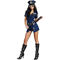 Dreamgirl Women's Officer B Naughty Costume, Blue, Small