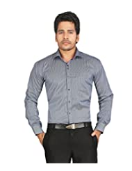 John Morris Smart Blue Stripes Slim Fit Semi Formal Full Sleeves Shirt For Men | JM114658Q1