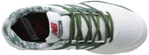 pictures of New Balance Men's T4040 Baseball Turf Shoe,White/Green,8 D US