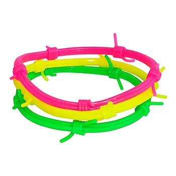 Multi-Coloured Neon Barbed Wire Gummy Bracelet (Multi-Coloured)