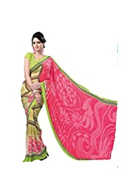 ANSS Elegant Designer Faux Georgette Saree With Floral Print - Pink&Green