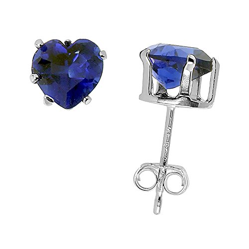 Sterling-Silver-Cubic-Zirconia-Heart-Sapphire-Earrings-Studs-6-mm-Navy-color-15-caratspair