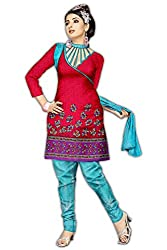 Varshia Womens Synthetic Salwar Dress Material (Vp16 -Red -Free Size)