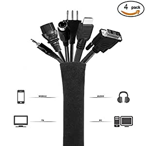 pasow cable management sleeve neoprene cord organizer wrap cover for tv computer. Black Bedroom Furniture Sets. Home Design Ideas