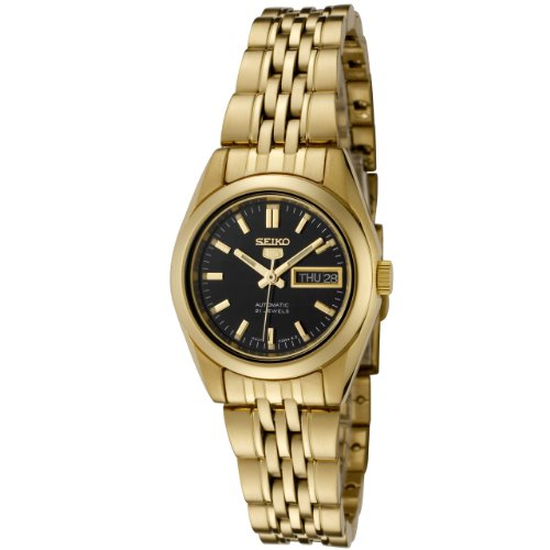 Seiko Women's SYMA40K Gold Gold Tone Stainles-Steel Automatic Watch with Black Dial