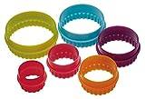 Colourworks  Kunststoff-Rundkeksausstecher mit geraden und gewellten Rändern im Sechser-Set