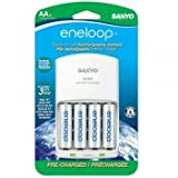 eneloop NEW 2000mAh Typical, 1900mAh Minimum, 1500 cycle, 4 Pack AA, Ni-MH Pre-Charged Rechargeable Batteries with 4 Position Charger