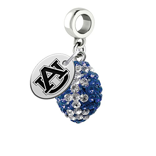 Auburn Tigers Crystal Football Drop Charm Fits All European Style Bracelets