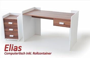 computertisch inkl rollcontainer elias wei nussbaum. Black Bedroom Furniture Sets. Home Design Ideas