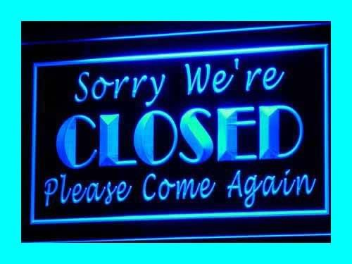 Insegna al neon i102-b Sorry We're Closed Shop Close Neonschild Sign