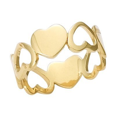 18K Gold Plated Love Hearts Band Ring - Size 10