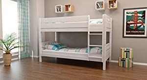 Bunk bed / Cabin bed Rene solid beech wood, in a white paint finish, includes slatted frame - 90 x 200 cm