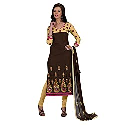 Resham Fabrics Brown Cotton Embroidered Dress Material