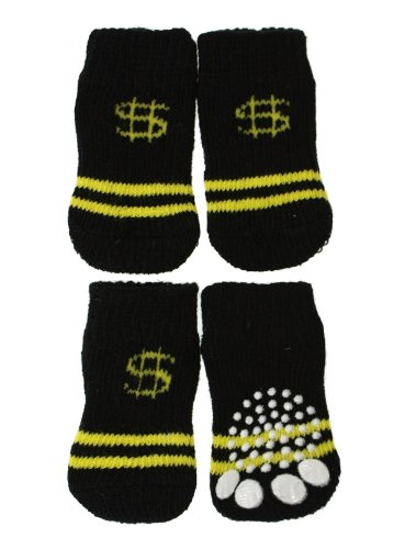 "Urbanpup Black / Yellow ''Dollar'' Pet Socks (Large - Dog Foot Width: 1.5"" / 35Mm)"