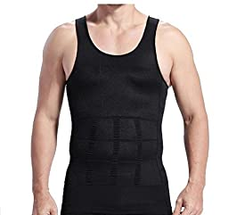 Black XL, Fatty Slimming Body Shaper Vest Shirt Men\'s Belly Corset Underwear by Abcstore99