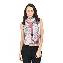 FabSeasons Peach Cotton Printed Multicolor Scarf, Scarves, Stole and Shawl for Women for all Seasons