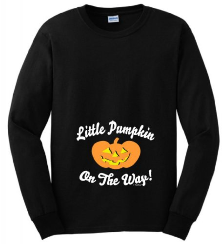 Little Pumpkin On The Way Maternity Themed Long Sleeve T-Shirt Medium Black