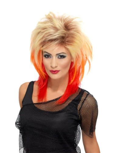 Smiffy'S 80S Mullet Wig, Blonde/Red, One Size