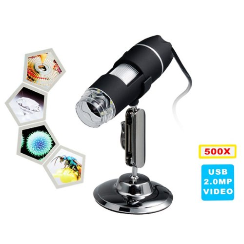 500X Magnification 8-Led Usb Digital Microscope With Stand - Black